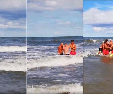 Awantura nad morzem. Pijanego pływaka z morza wyciągało kilku ratowników